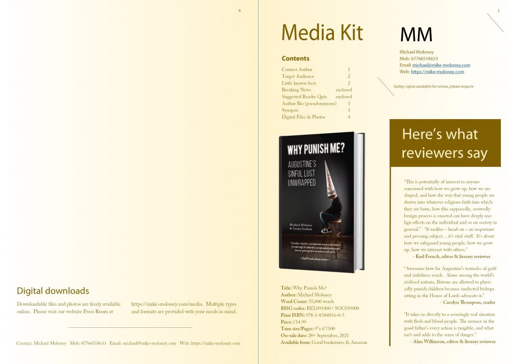 Press Kit - Book Title: Why Punish Me? Author: Michael Moloney